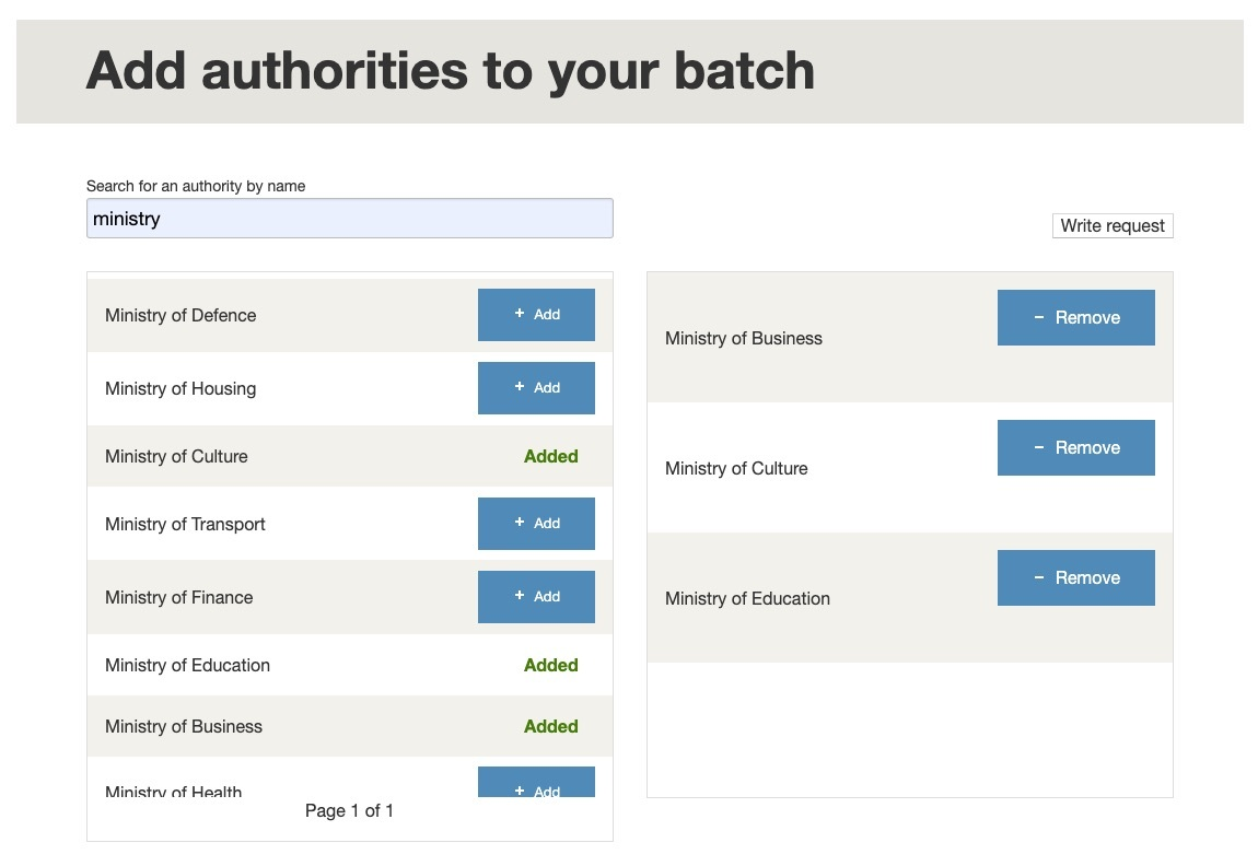 Select authorities for a batch